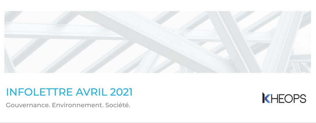 L'infolettre d'avril 2021 est en ligne